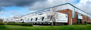 Pluscrates Trucks outside Wembley Head Office