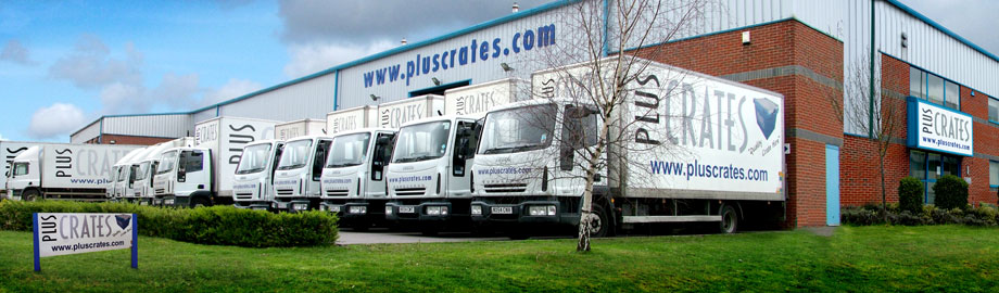 Pluscrates Crate Hire Service Centre - Exterior Building and Lorries