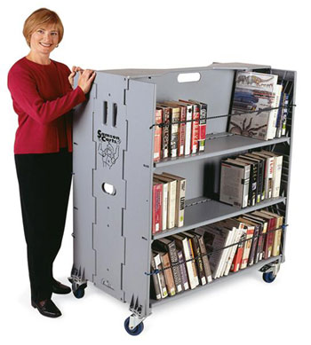 6 shelf Library Trolly with castors for moving books